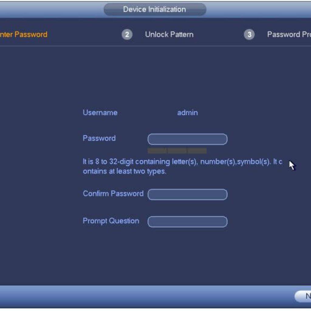 Dahua DVR Passwrod Setup Screen